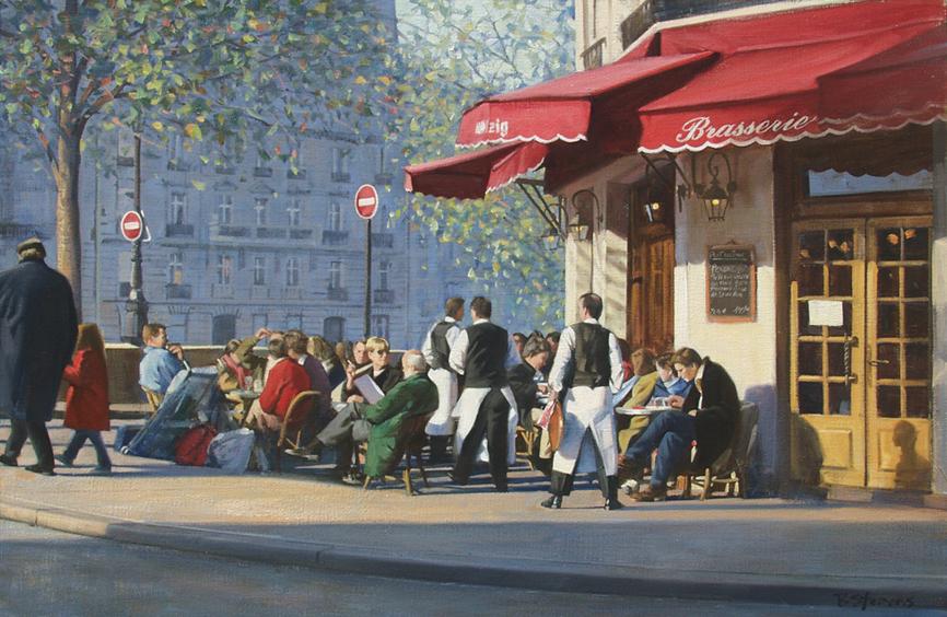 en-plein-air, oil painting, Paris landscape painting, Paris cityscape painting, Ile St Louis cafe painting, Ile St Louis cafe scene