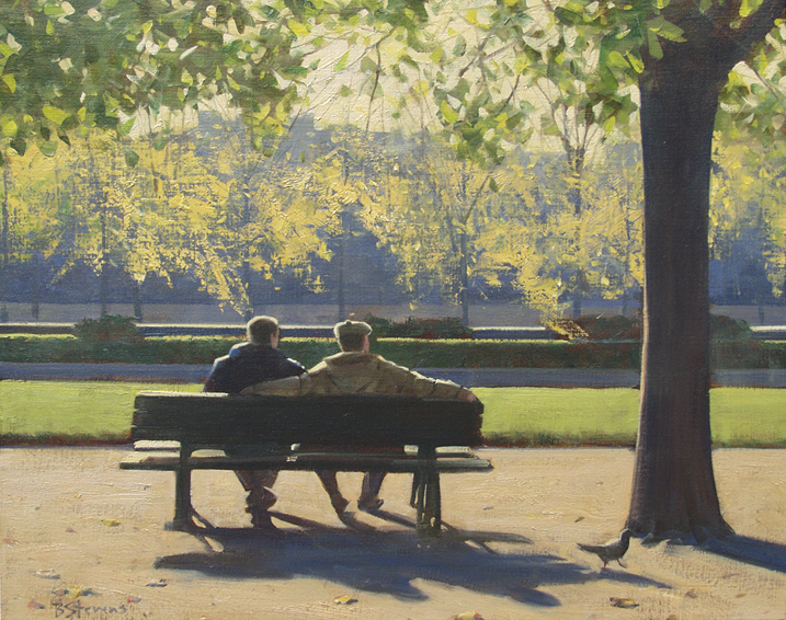 entre-amis, oil painting, Paris cityscape painting, Paris landscape painting, Paris park landscape painting, Paris park bench scene