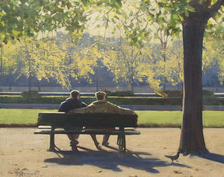 entre-amis, oil painting, Paris cityscape painting, Paris landscape painting, Paris park landscape painting, Paris park bench scene