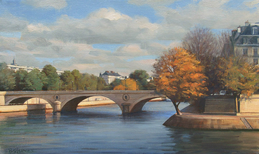 la-seine-dans-son-ecrin, oil painting, French landscape painting, Paris landscape painting, Paris cityscape painting, River Seine painting, Paris bridge painting, Paris in autumn scene
