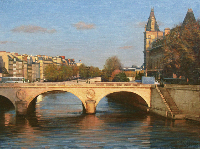 laurore-sur-le-pont-st-michel, oil painting, Paris cityscape painting, Paris landscape painting, Pont St. Michel Paris painting, Paris bridge painting, River Seine painting, Paris river scene, Paris St Michel Bridge scene