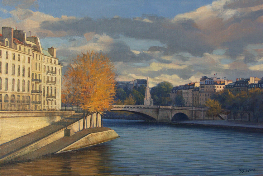 lautomne-lile-st-louis, oil painting, Paris cityscape painting, Paris landscape painting, Ile St Louis landscape painting, Ile St Louis on the River Seine, Ile St Louis in autumn, Paris in autumn painting