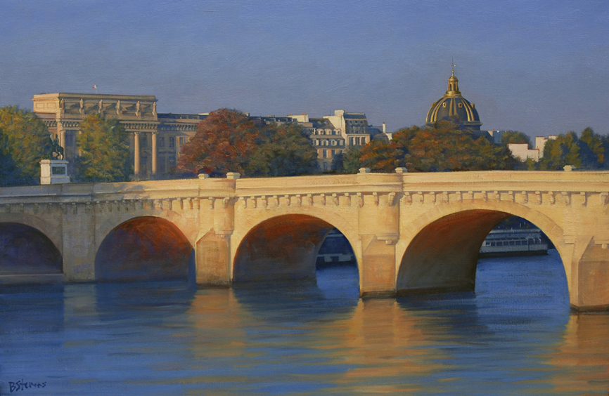 le-pont-neuf, oil painting, Paris landscape painting, Paris cityscape painting, Pont Neuf painting, River Seine landscape painting