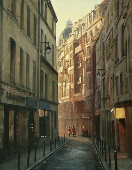 le-quartier-latin, oil painting, Paris cityscape, Paris landscape, Paris street scene, Le Quartier Latin cityscape, Latin Quarter street scene