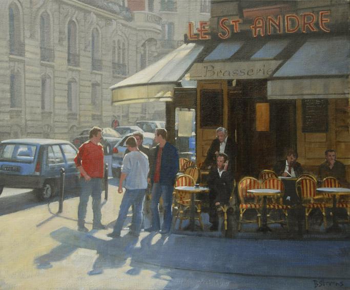 le-st-andre, oil painting, Paris cityscape painting, Paris landscape painting, Paris cafe painting, Paris cafe street scene