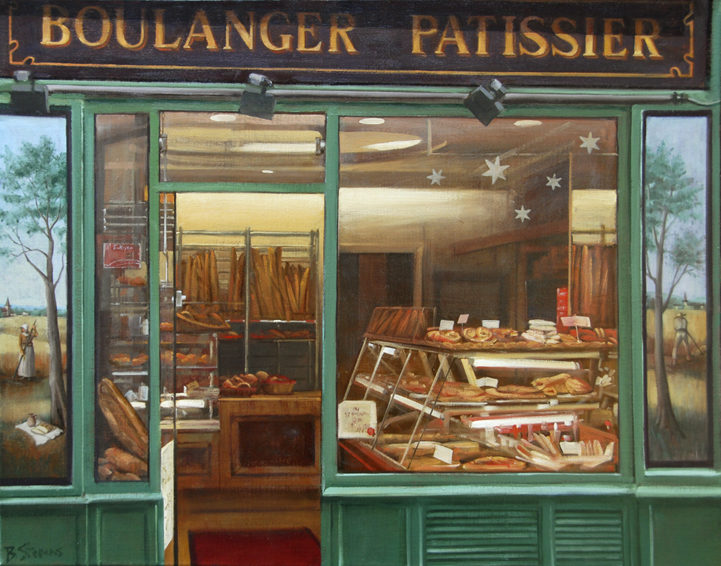 les-pains-du-jour, oil painting, Paris cityscape, Paris boulangerie painting, Paris bakery painting, Ile St Louis boulangerie painting, Paris shop window painting