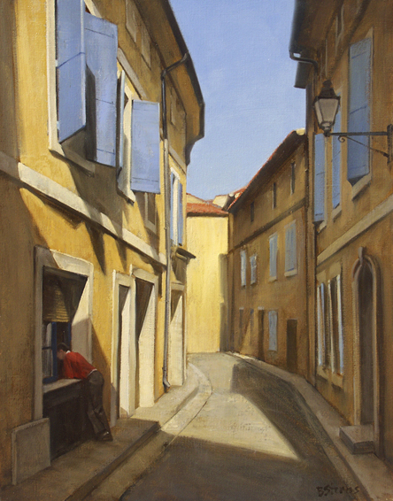 les-volets-bleus, oil painting, French landscape painting, French village painting, French village scene