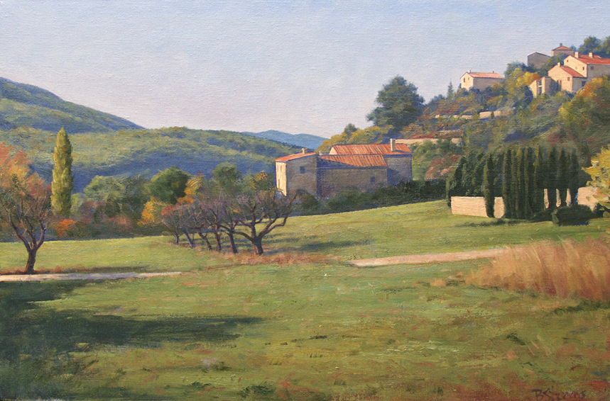 morning-in-buoux, oil painting, French landscape, French provencal landscape, Provence France landscape, Provence village scene