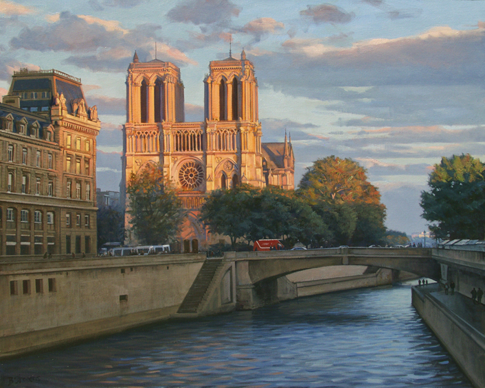 last-light-on-notre-dame, oil painting, Paris landscape painting, Paris cityscape painting, painting of Notre Dame Paris, Notre Dame and River Seine painting, Notre Dame at sunset painting