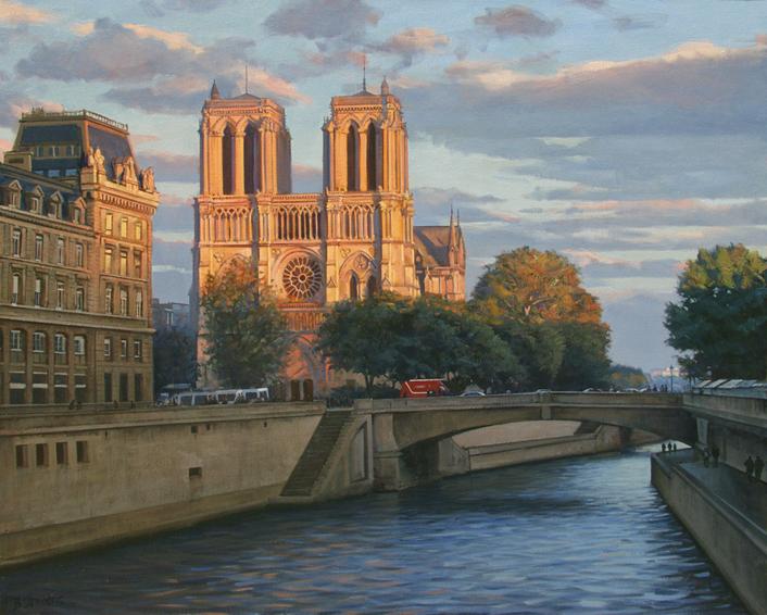 last-light-on-notre-dame, oil painting, Paris landscape painting, Paris cityscape painting, painting of Notre Dame Paris, Notre Dame and River Seine painting, Notre Dame at sunset painting