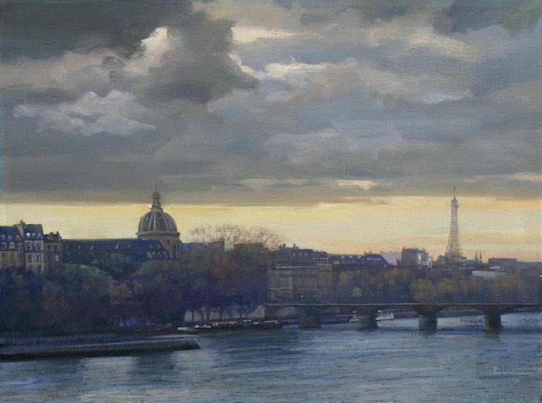 paris-storm, oil painting, Paris landscape painting, Paris cityscape painting, Paris River Seine painting