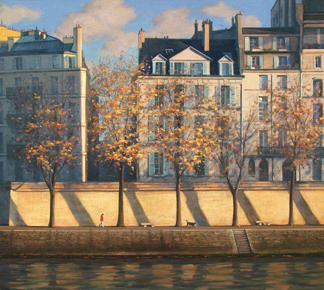 parisian-rhythms, oil painting, Paris cityscape, Paris cityscape painting, Ile St Louis Paris painting, Seine River painting