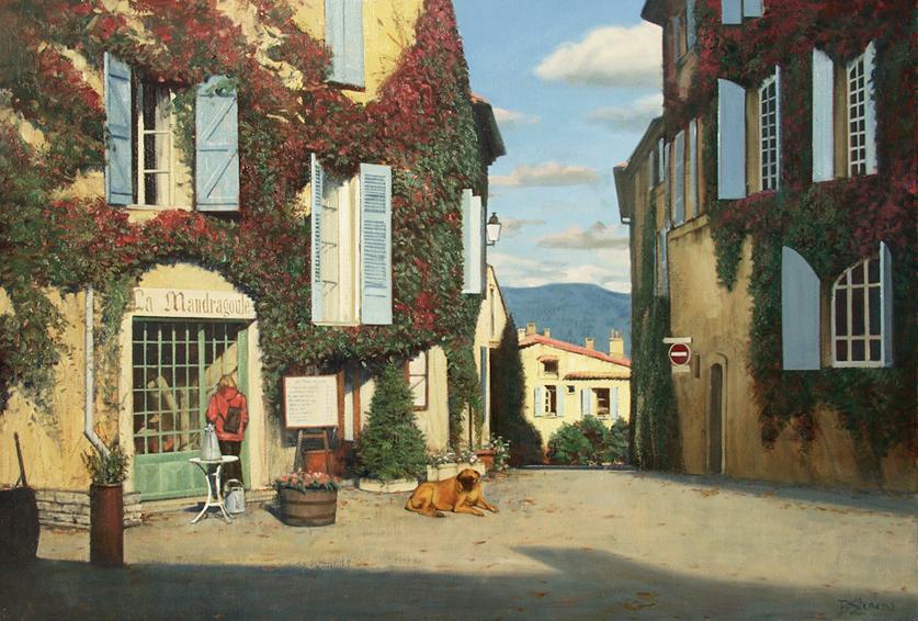 place-de-saignon, oil painting, French landscape painting, French cityscape painting, French Provence village painting, Saignon France village painting, Provence village scene