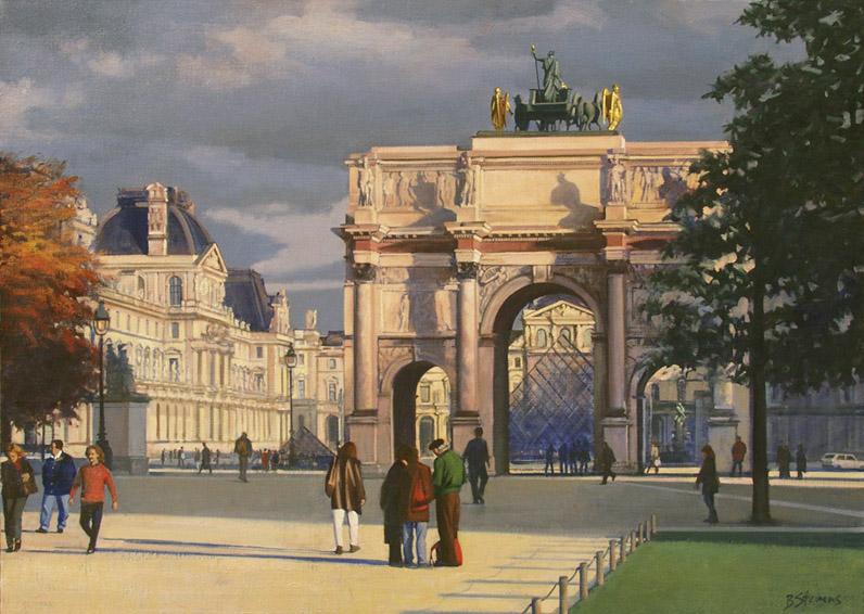 place-du-carrousel, oil painting, Paris cityscape painting, Paris landscape painting, Place du Carrousel painting, Paris park scene, Petit L'Arc du Triomphe painting, Paris park scene