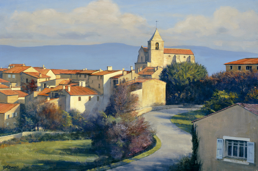 saignons-perch, oil painting, French landscape painting, French village painting, French Provencal scene, Provence France painting, Saignon France landscape painting