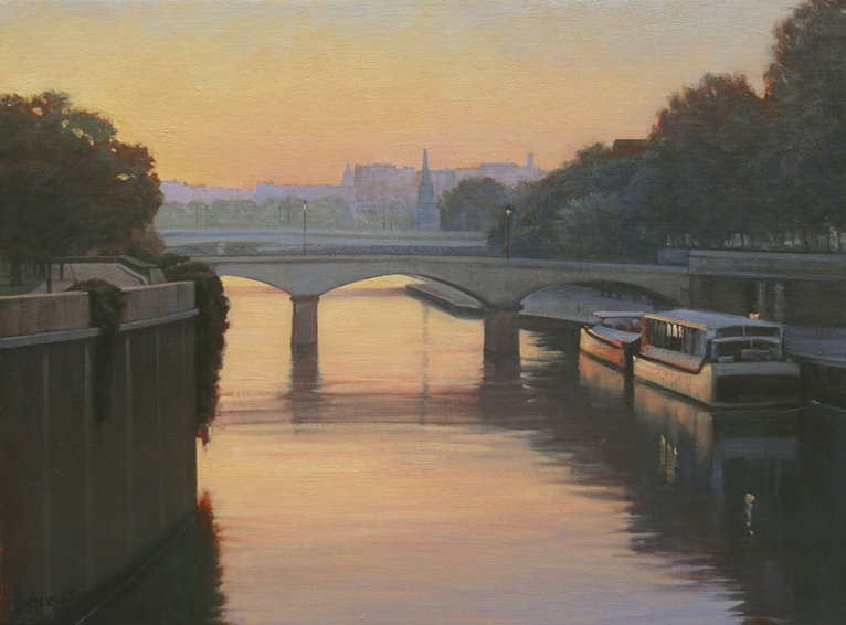 sunrise-port-de-montebello, oil painting, French cityscape painting, French landscape painting, Paris cityscape painting, Paris landscape painting, Port de Montebello painting, Paris bridge painting, River Seine painting, Paris at sunrise painting