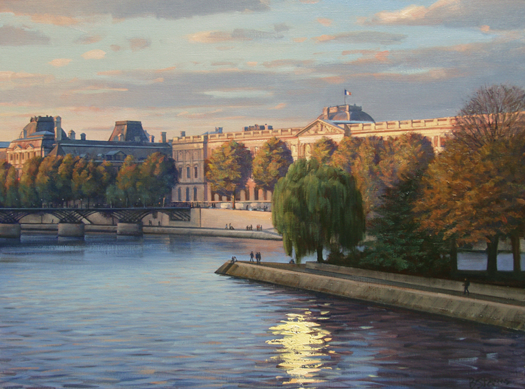 towards-the-louvre, oil painting, French cityscape painting, French landscape painting, Paris cityscape painting, Paris Louvre painting, Paris in autumn painting