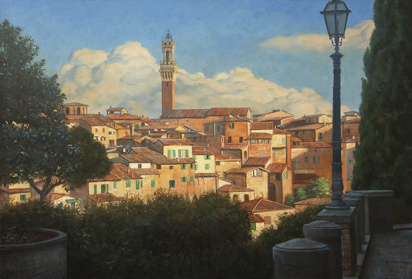 approach-to-siena, cityscape painting, oil painting, Tuscany landscape, Siena hilltop painting, Italian village painting, Tuscan village, Duomo di Siena tower, Siena cathedral