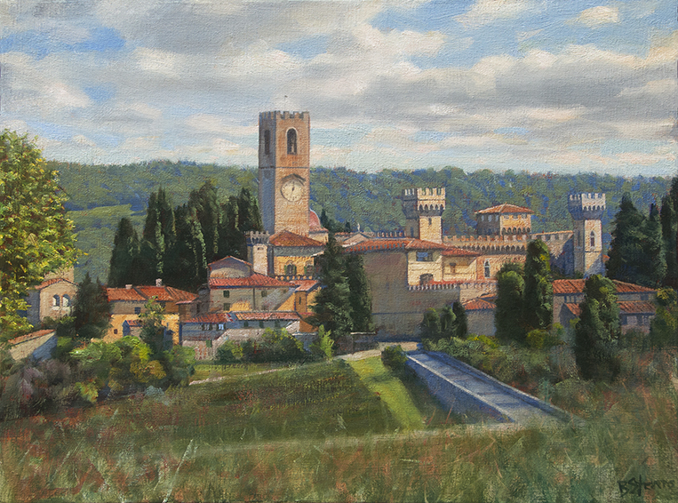 memories-of-chianti, Italian village painting, oil painting, cityscape painting, Chianti landscape, Tuscan village landscape, Badia a Passignano
