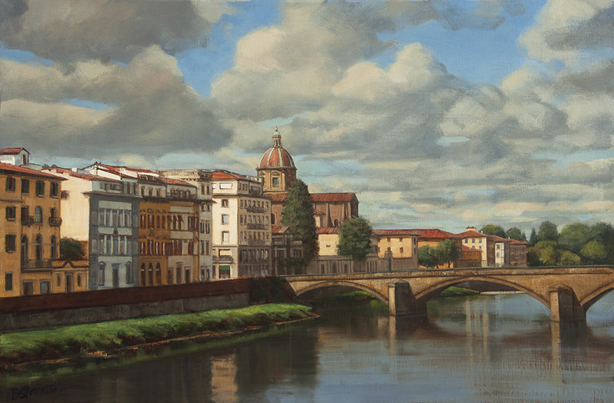 oltrarno, Florence cityscape, Italian cityscape painting, oil painting, Arno River painting, Firenze