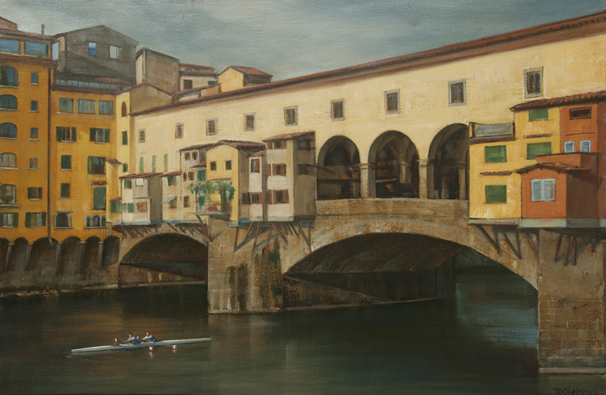 ponte-vecchio, cityscape painting, oil painting, Italian cityscape, Arno River painting, rowers on Arno River, Florence bridge painting, Florence cityscape