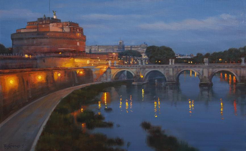roman-nocturne, cityscape painting, oil painting, Tiber River painting, Roman bridge painting, Ponte Sant'Angelo