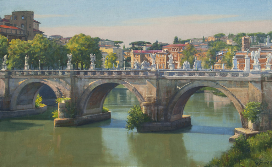 sant'angelo-light, cityscape painting, oil painting, Tiber River painting, Sant'angelo