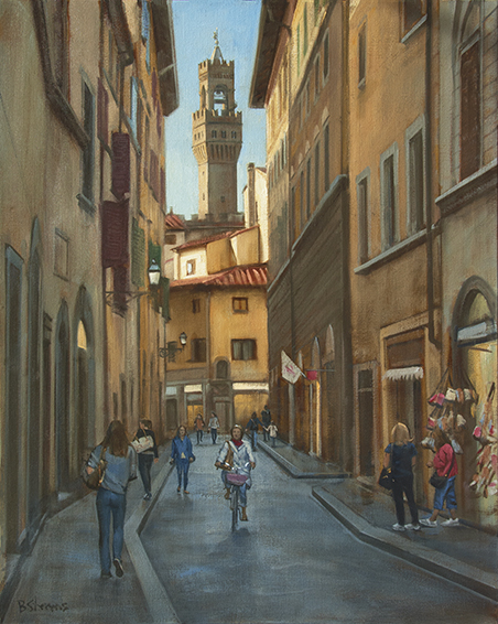 towards-the-palazzo-vecchio, Florence cityscape painting, oil painting, Florence city street, people walking streets of Florence, Palazzo Vecchio tower, Firenze, Piazza della Signoria