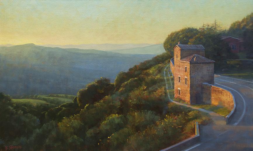 tuscan-sunset, Tuscan village painting, oil painting, Italian landscape painting, Italian village painting, Italian hilltop, Montalcino