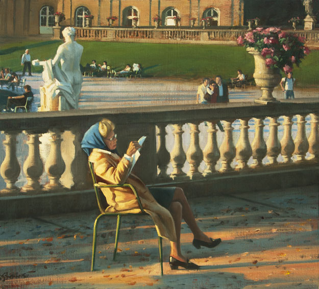 a good read, cityscapes painting, oil painting, informal portrait