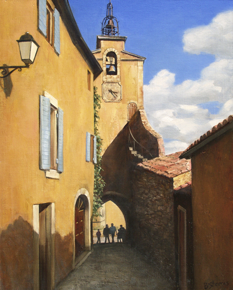 a lombre du clocher, cityscapes painting, oil painting