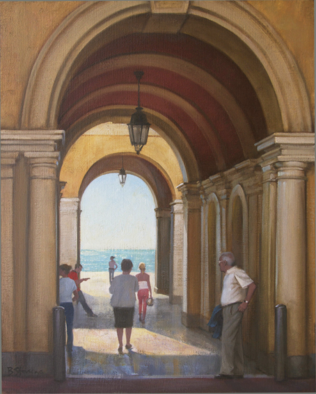 archway to the sea, cityscapes painting, oil painting