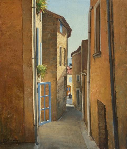 au fond de la ruelle, cityscapes painting, oil painting