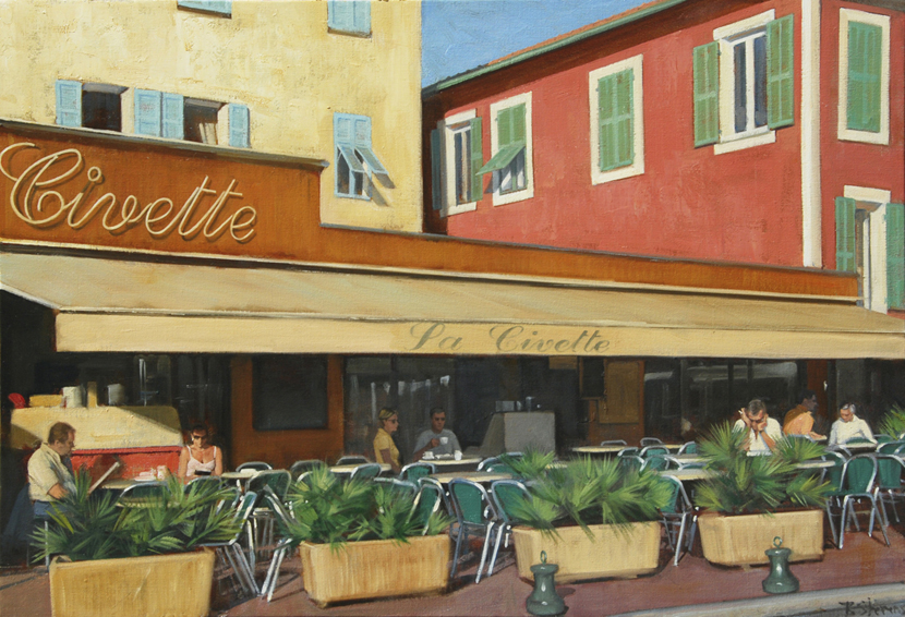 la civette, cityscapes painting, oil painting