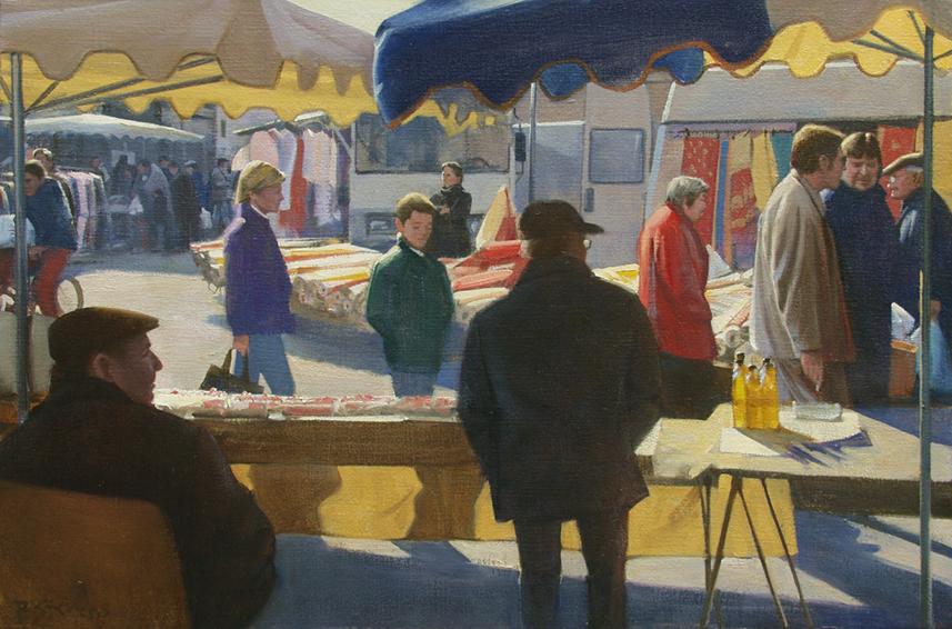 le marche de lundi, cityscapes painting, oil painting