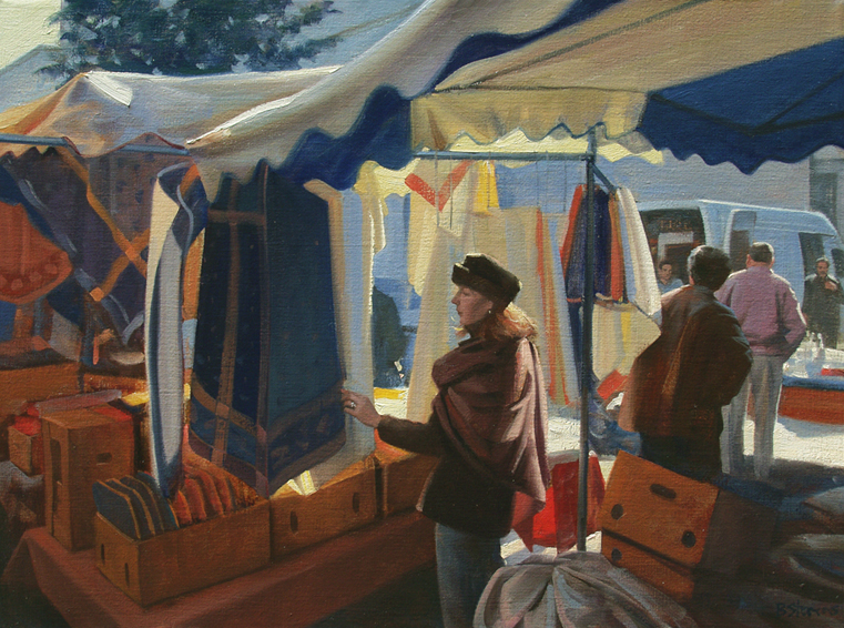 les couleurs de provence, cityscapes painting, oil painting, villages of Provence, Provencal market, Cavaillon market day, Provencal linens, people shopping in Cavaillon market