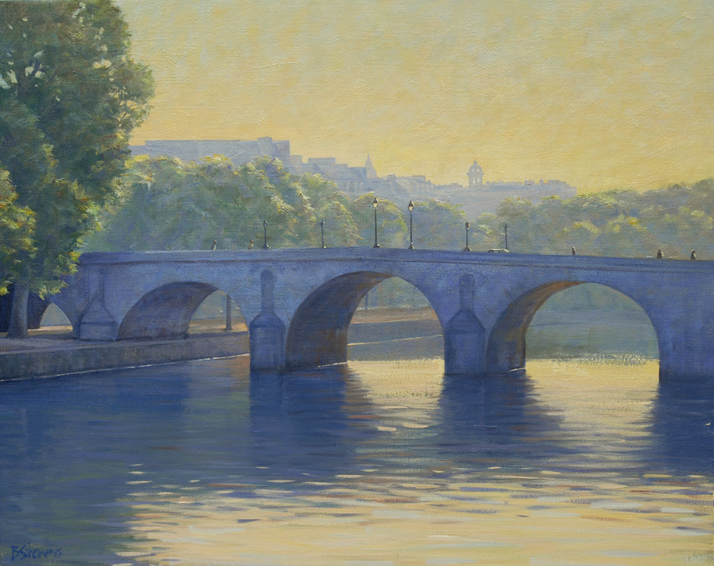 morning on the seine, cityscapes painting, oil painting, Parisian cityscape, bridges of Paris, Seine River painting