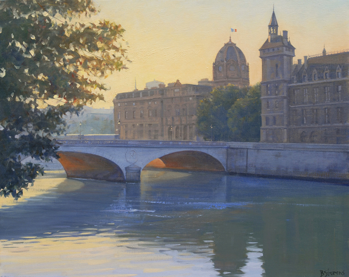 morning pont au change, cityscapes painting, oil painting