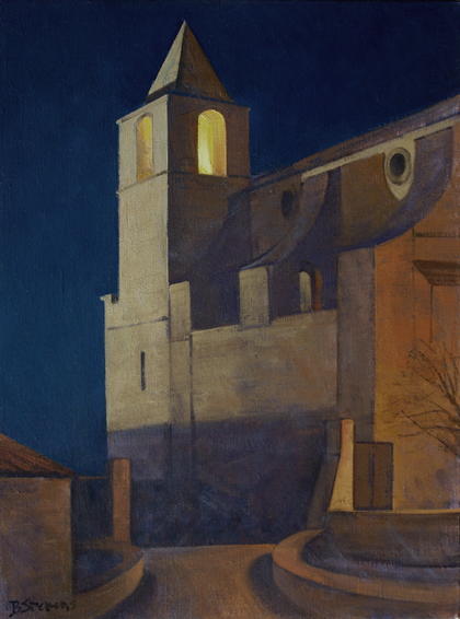 nightwatch, cityscapes painting, oil painting, Provence landscape painting, village of Saignon, Vaucluse, Notre Dame de Pitie church, St. Mary of Saignon church
