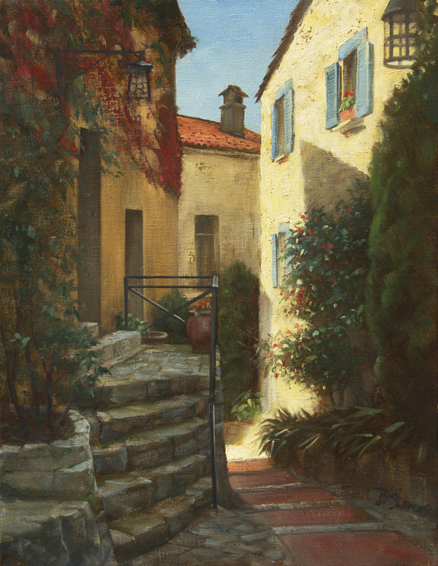 pathway through eze, cityscapes painting, oil painting