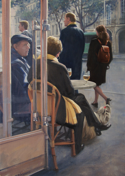taking time, informal portrait, cityscapes painting, oil painting
