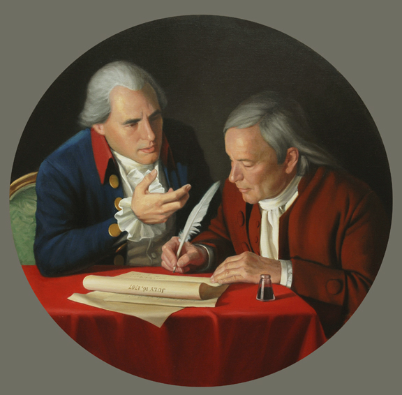 the connecticut compromise, historical portrait, oil painting