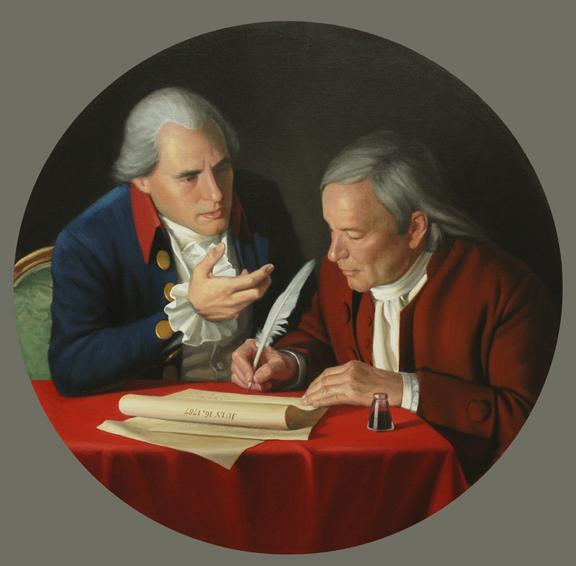 the connecticut compromise, historical portrait, oil painting