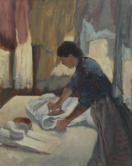woman ironing, edgar degas, historical portrait, oil painting