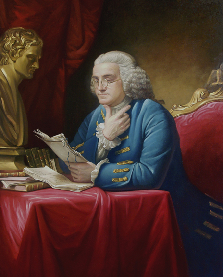 benjamin franklin, historical portrait, oil painting, David Martin