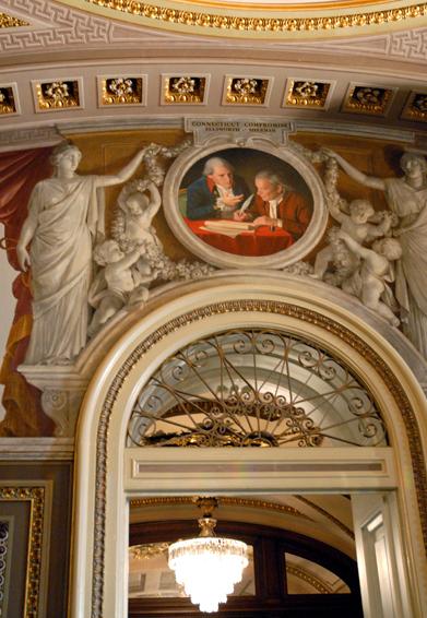 the connecticut compromise, historical portrait, oil painting, senate reception room