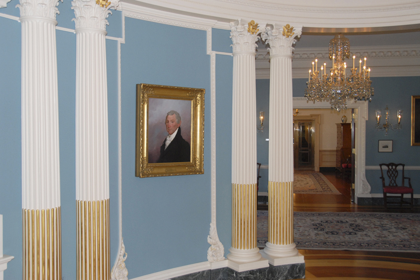 James Monroe, U.S. state department interior, U.S. house of representatives, historical portrait, oil painting