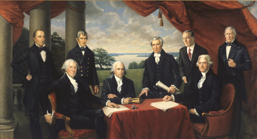 the presidents from virginia, historical portrait, oil painting
