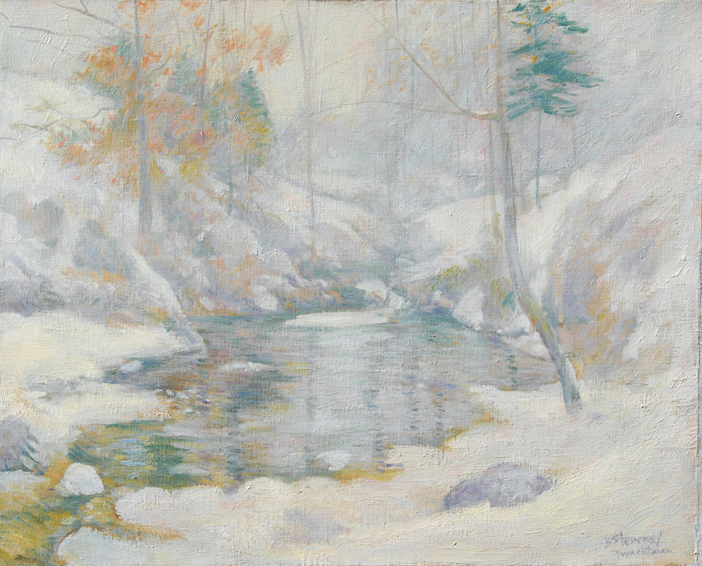winter harmony, henry twachtman, historical portrait, oil painting