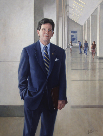 arry harding, dean, Elliot School of International Affairs, George Washington University, oil portrait, academic portrait, dean's portrait, business school dean portrait